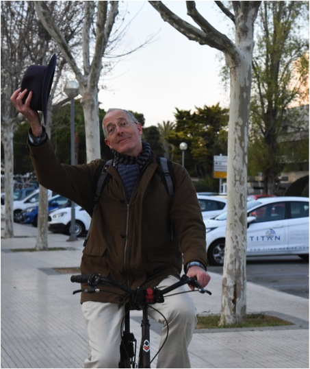 Tim on bicycle